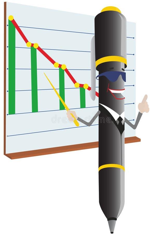 Pena e programação de Ballpoint ilustração stock