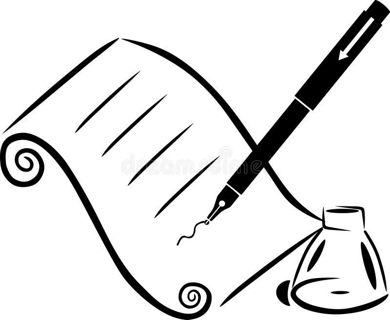 Pena e tinta de papel ilustração stock