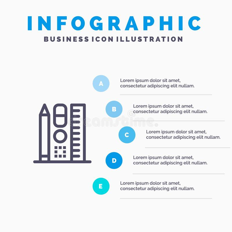 Pena, escala, educação, etapas azuis em linha do molde 5 de Infographics Linha molde do vetor do ?cone ilustração royalty free