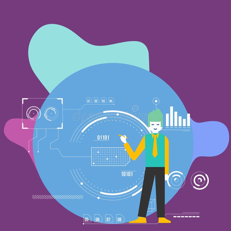 Pena guardando ereta do homem e apontar ao diagrama de carta O fundo é enchido com os ícones de SEO Process e do ciclo creativo ilustração do vetor