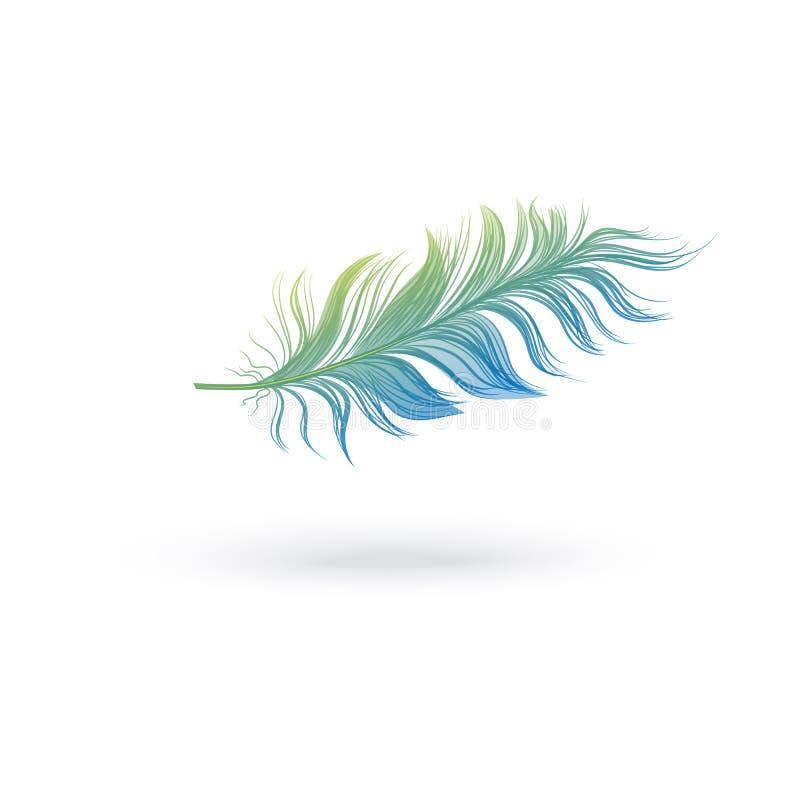 Pena macia verde e azul que flutua no ar ilustração stock