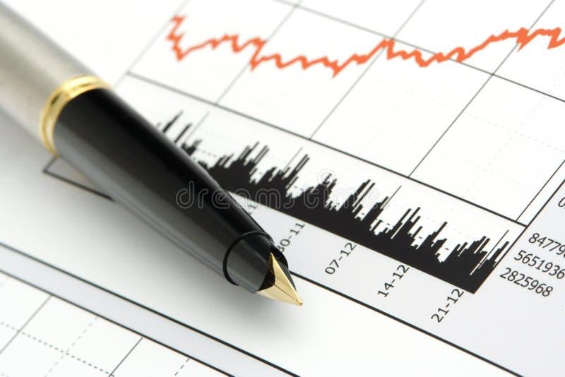 Pena na carta do preço das acções fotografia de stock