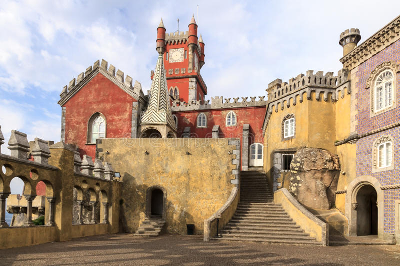 The Pena National Palace in Sintra, Portugal. The Pena National Palace (Palacio da Pina) is the residence of the Portuguese kings. It is located in Sintra not royalty free stock photos