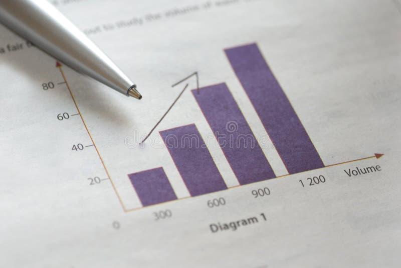 Pena no gráfico de barra imagens de stock royalty free