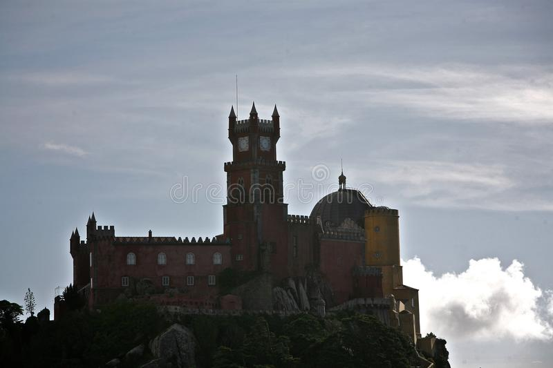 Download Pena palace above clouds stock image. Image of portugal - 12165603