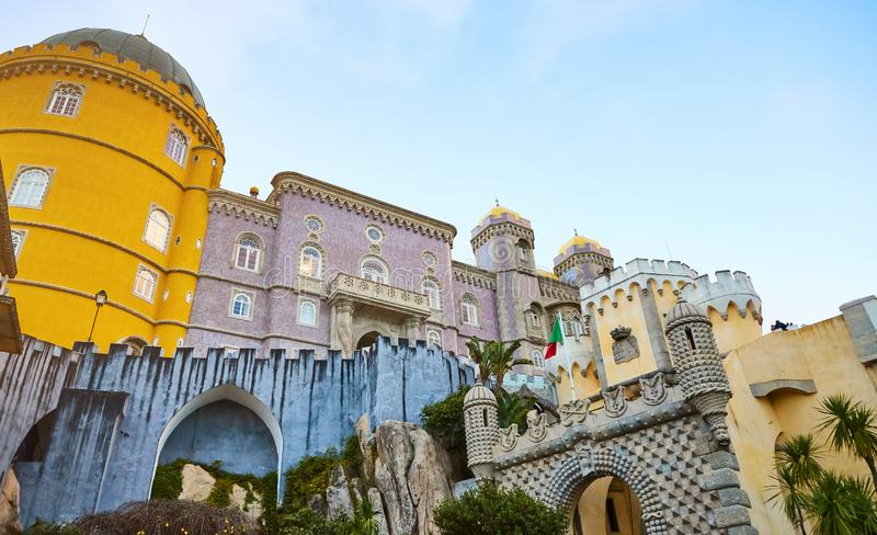 Pena Palace in Sintra, Lisbon, Portugal. Famous landmark. Most beautiful castles in Europe stock photo