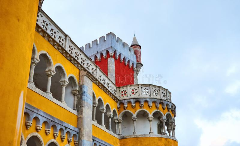 Pena Palace in Sintra, Lisbon, Portugal. Famous landmark. Most beautiful castles in Europe royalty free stock images