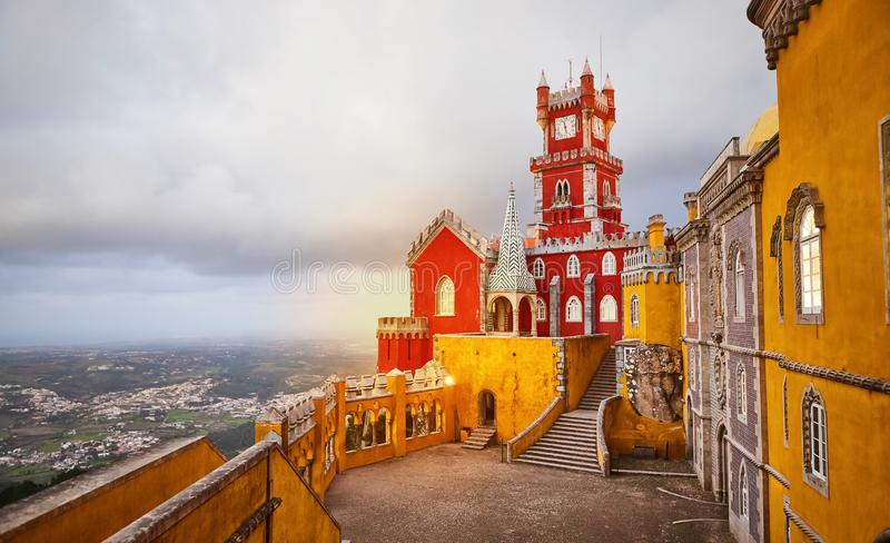 Pena Palace in Sintra, Lisbon, Portugal. Famous landmark. Most beautiful castles in Europe royalty free stock image
