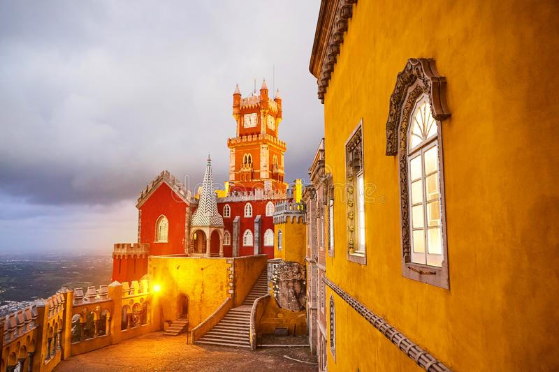 Pena Palace in Sintra, Lisbon, Portugal in the night lights. Famous landmark. Most beautiful castles in Europe. Pena Palace in Sintra, Lisbon, Portugal in the stock photography