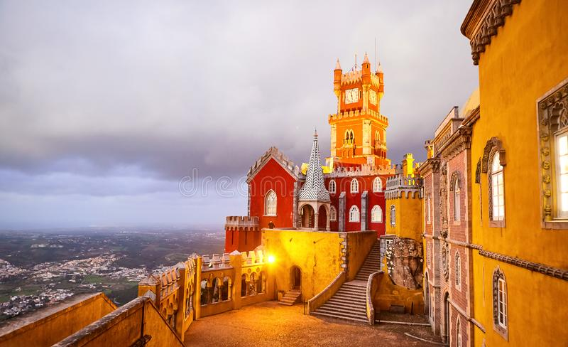 Pena Palace in Sintra, Lisbon, Portugal in the night lights. Famous landmark. Most beautiful castles in Europe royalty free stock photography