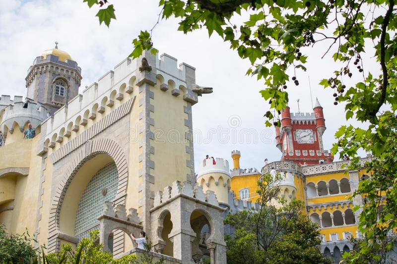 Pena Palace in Sintra in Portugal, popular touristic destination. Colorful castle royalty free stock images