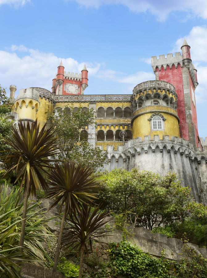 Pena Portugal National Palace. Romanticist palace in municipality of Sintra. view from the lower terrace royalty free stock photos