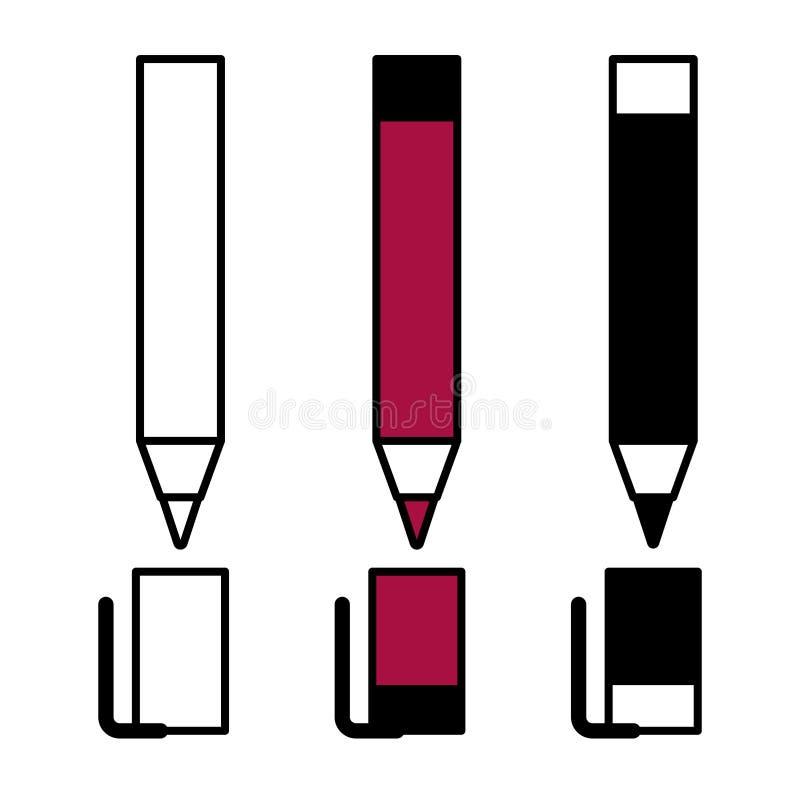 Pena preta vermelha branca ilustração do vetor
