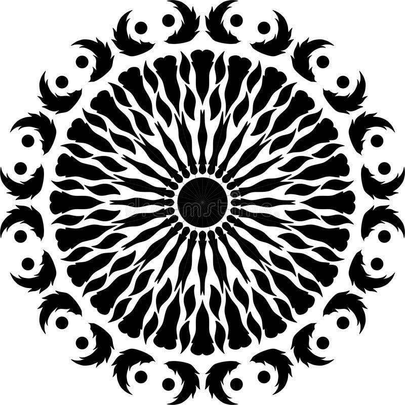 Pena redonda do projeto, folhas comum do projeto preto e branco, redondo asas dos pássaros, pena de pássaro ilustração royalty free