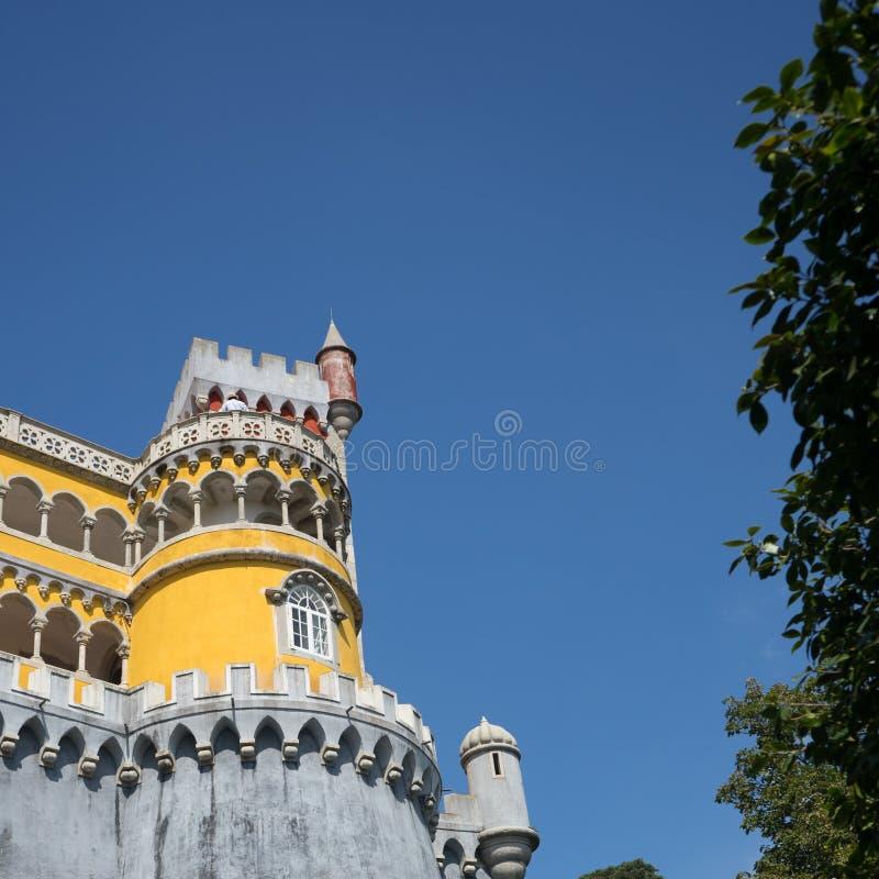 Pena slottarkitektur Sintra Lissabon Portug fotografering för bildbyråer