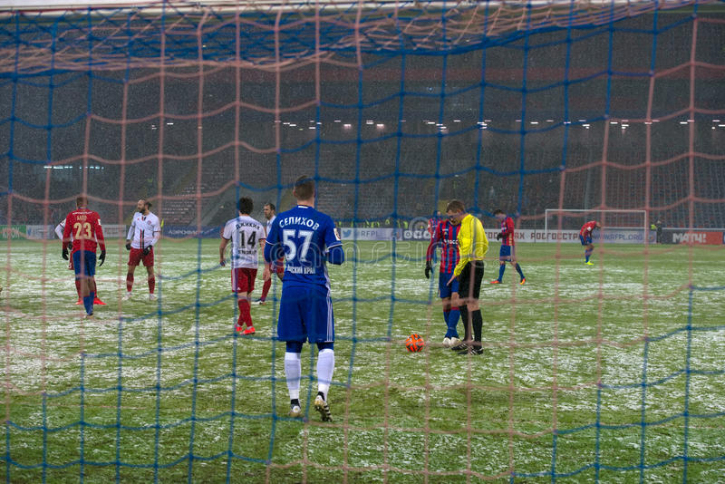 Penalty at the Gates team Amkar. MOSCOW - NOVEMBER 6, 2016: Penalty at the Gates team Amkar on the soccer game Russian National Football League CSKA Moscow vs stock photo