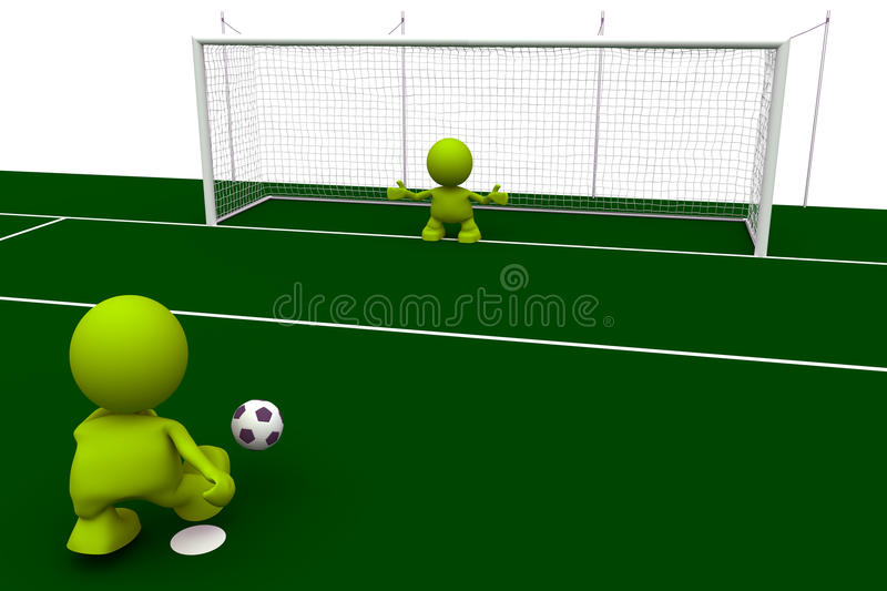 Penalty Kick. Illustration of a soccer player taking a penalty kick with the goalkeeper waiting to stop it. Part of my cute green man series royalty free illustration