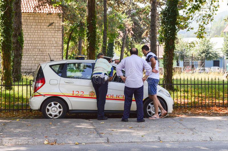 The penalty for the offense. Police in Cetinje prescribes fines for violating traffic rules stock photography