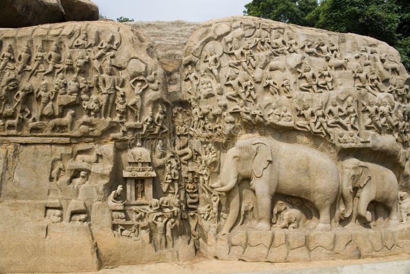 penance för arjunasindia mamallapuram fotografering för bildbyråer