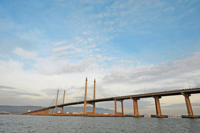 PENANG BRIDGE - PENANG ISLAND. The Penang Bridge is a 13.5-kilometre dual carriageway toll bridge and controlled-access highway in the state of Penang, Malaysia stock image