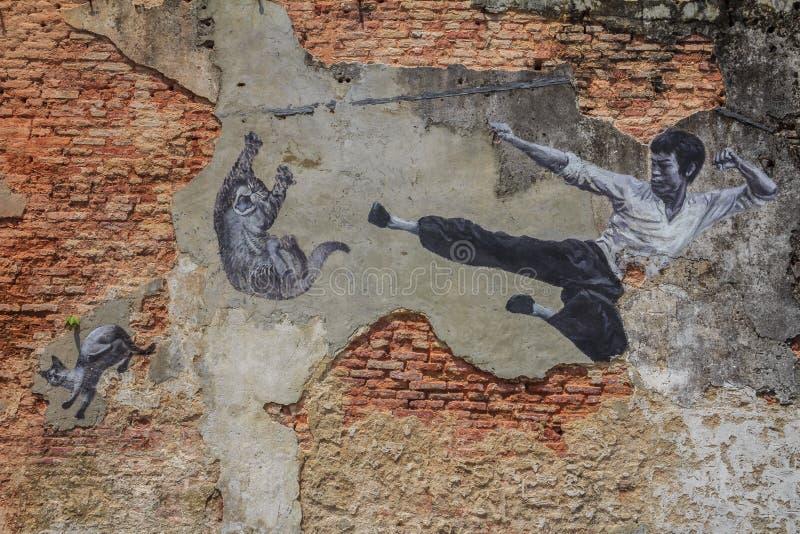 Penang Bruce Lee och kattväggkonstverk arkivbild