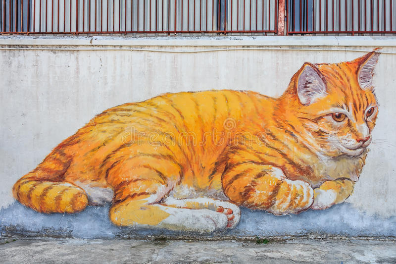Penang cat mural. Georgetown, Penang, Malaysia - August 23, 2013: Skippy, the Giant Cat mural by the 101 Lost Kittens project in the UNESCO heritage zone royalty free illustration
