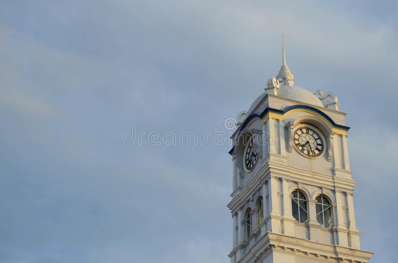 Penang clock tower at Penang, Malaysia. Penang clock tower against hazy blue sky at Penang, Malaysia stock images