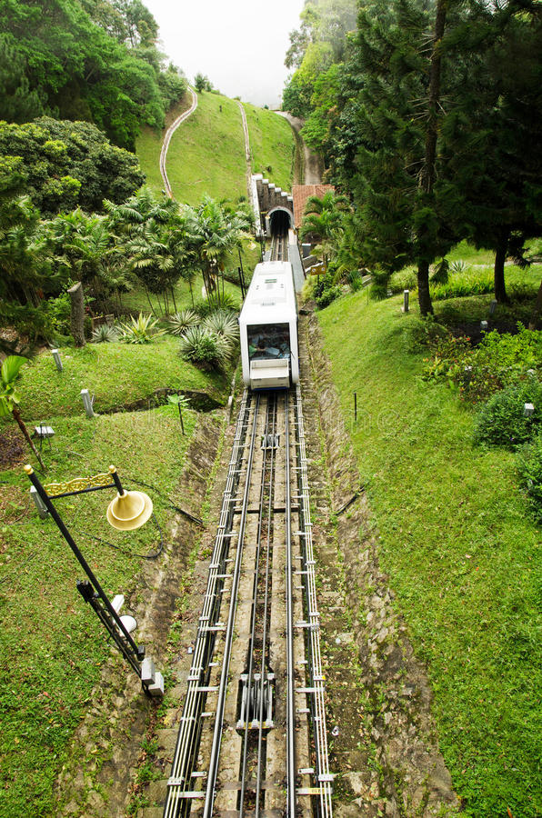 Penang Hill Train,Most iconic transport at Penang Hill, Malaysia stock photo