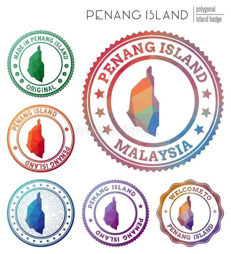 Penang Island badge. Colorful polygonal island symbol. Multicolored geometric Penang Island logos set. Vector illustration stock illustration