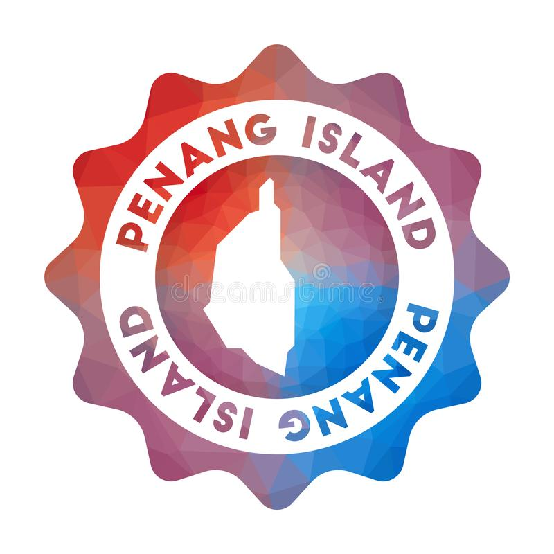 Penang Island low poly logo. Colorful gradient travel logo of the island in geometric style. Multicolored polygonal Penang Island rounded sign with map for vector illustration