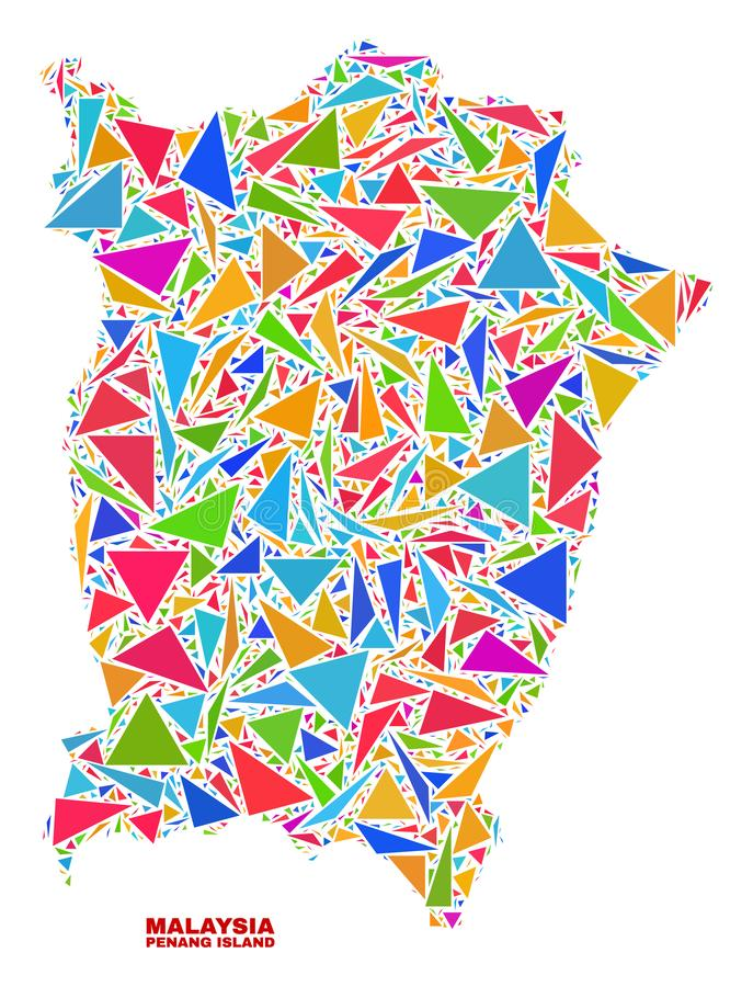 Penang Island Map - Mosaic of Color Triangles. Mosaic Penang Island map of triangles in bright colors isolated on a white background. Triangular collage in shape stock illustration