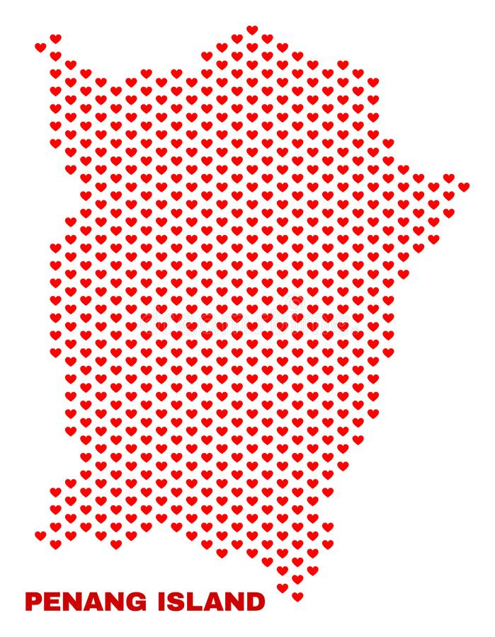 Penang Island Map - Mosaic of Lovely Hearts. Mosaic Penang Island map of heart hearts in red color isolated on a white background. Regular red heart pattern in stock illustration