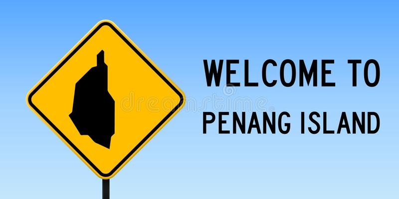 Penang Island map on road sign. Wide poster with Penang Island island map on yellow rhomb road sign. Vector illustration vector illustration