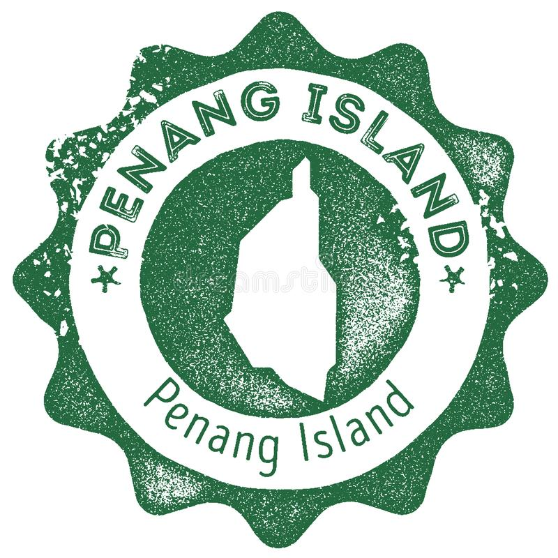 Penang Island map vintage stamp. Retro style handmade label, badge or element for travel souvenirs. Dark green rubber stamp with island map silhouette. Vector vector illustration