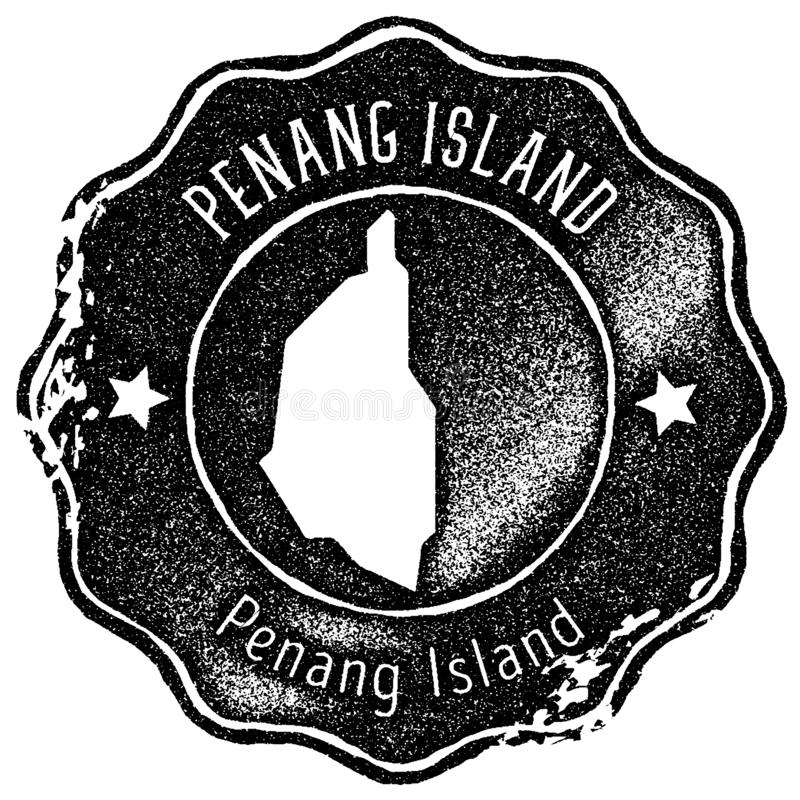 Penang Island map vintage stamp. Retro style handmade label, badge or element for travel souvenirs. Black rubber stamp with island map silhouette. Vector vector illustration