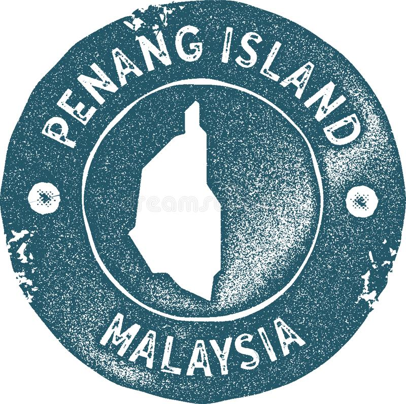 Penang Island map vintage stamp. Retro style handmade label, badge or element for travel souvenirs. Blue rubber stamp with island map silhouette. Vector vector illustration