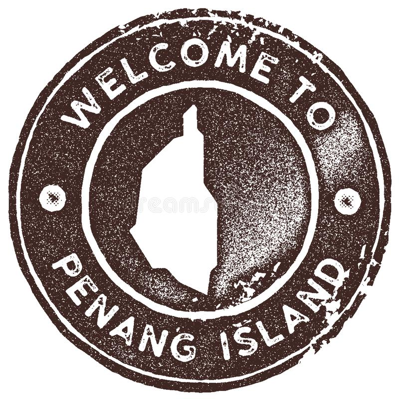 Penang Island map vintage stamp. Retro style handmade label, badge or element for travel souvenirs. Brown rubber stamp with island map silhouette. Vector royalty free illustration