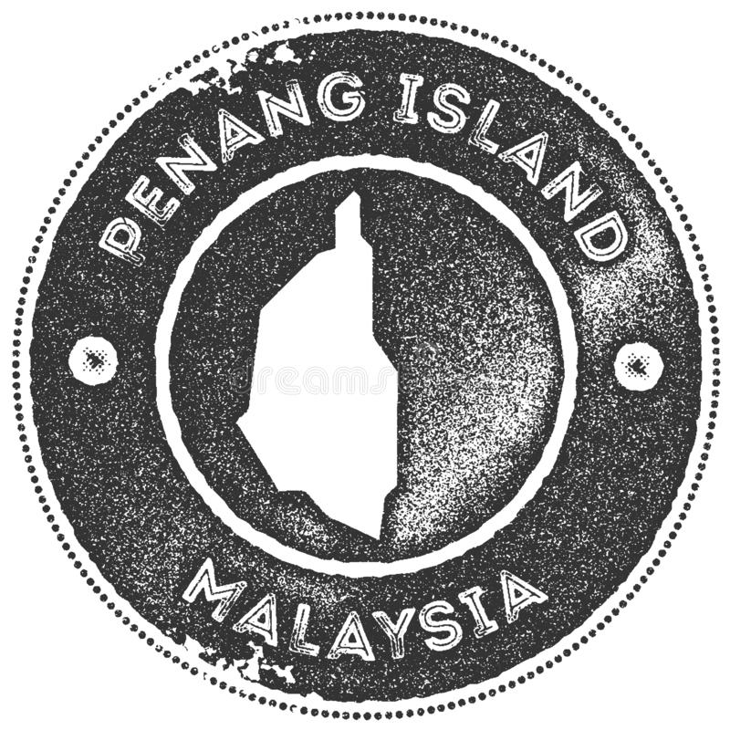 Penang Island map vintage stamp. Retro style handmade label, badge or element for travel souvenirs. Dark grey rubber stamp with island map silhouette. Vector vector illustration