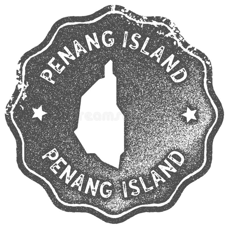 Penang Island map vintage stamp. Retro style handmade label, badge or element for travel souvenirs. Grey rubber stamp with island map silhouette. Vector stock illustration