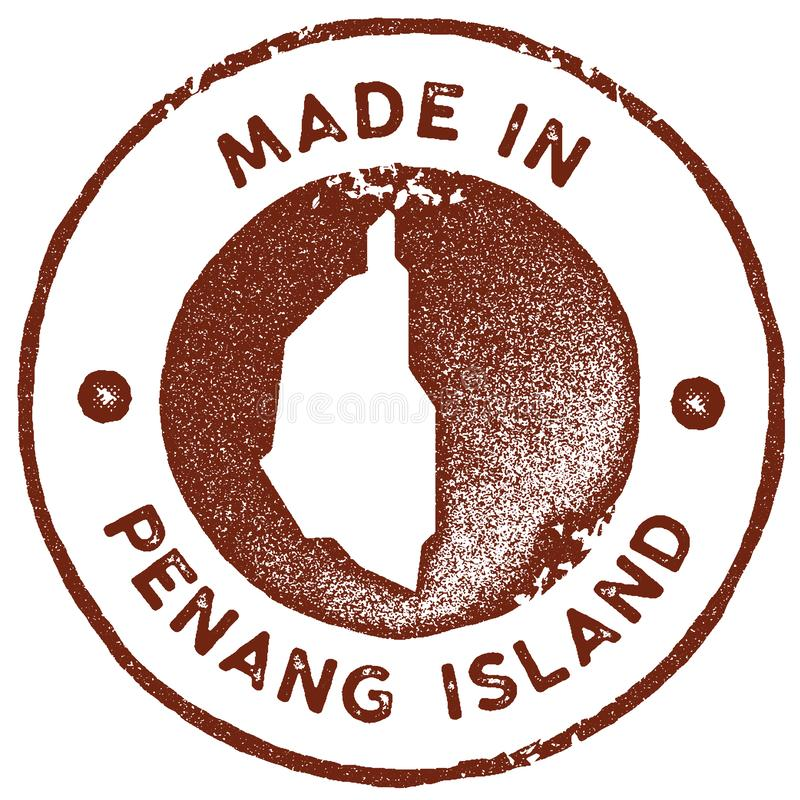 Penang Island map vintage stamp. Retro style handmade label, badge or element for travel souvenirs. Red rubber stamp with island map silhouette. Vector vector illustration