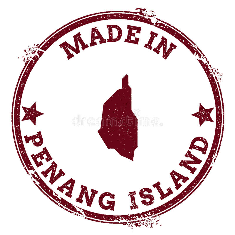 Penang Island seal. Vintage island map sticker. Grunge rubber stamp with Made in text and map outline, vector illustration royalty free illustration