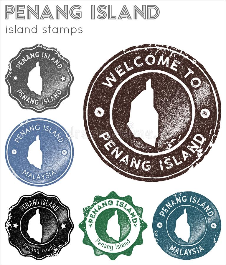 Penang Island stamps collection. Rubber stamps with island map silhouette. Vector set of Penang Island logo royalty free illustration