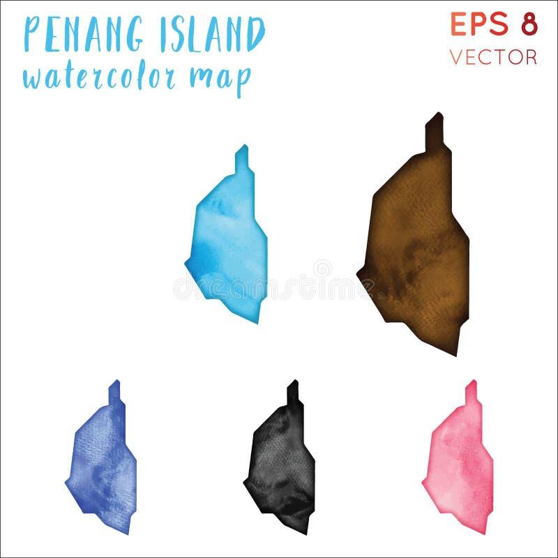 Penang Island watercolor island map. Handpainted watercolor Penang Island map set. Vector illustration vector illustration