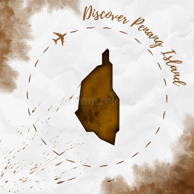 Penang Island watercolor island map in sepia. Penang Island watercolor island map in sepia colors. Discover Penang Island poster with airplane trace and stock illustration
