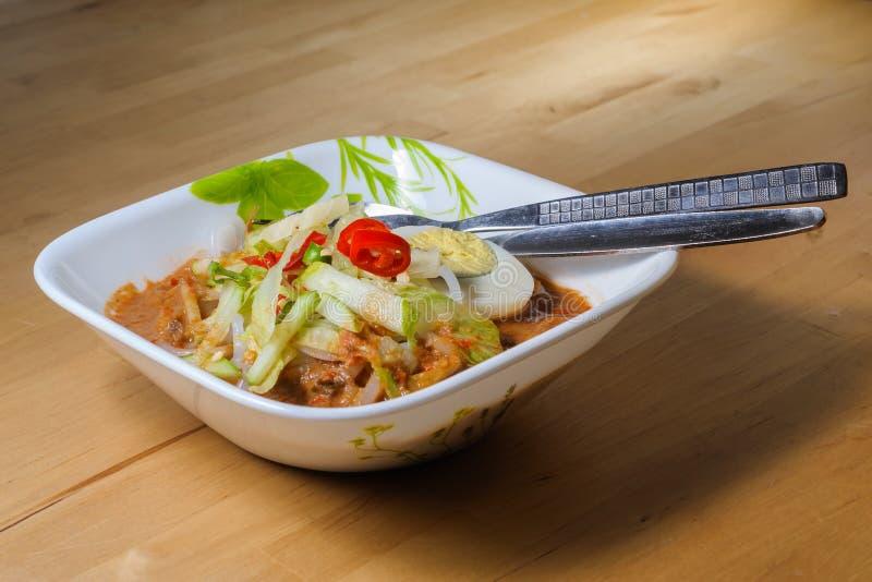 Penang Laksa - Spicy Malaysia Dish. In a bowl ready to eat royalty free stock photo