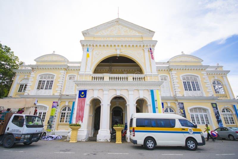 Penang, Malasia - 10 de agosto - 2015:: Ayuntamiento Penang en George imagen de archivo libre de regalías