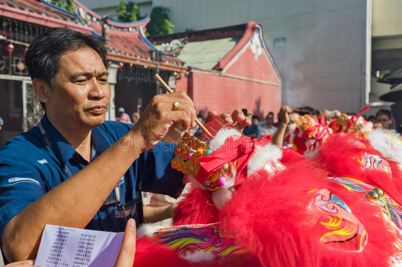 Penang Chinese New Year the lions dance royalty free stock photos