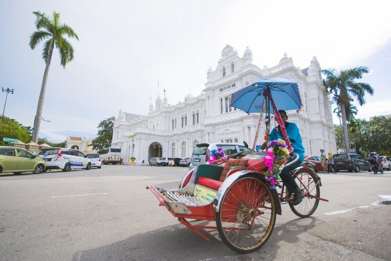 Penang Malaysia - Augusti 10-2015:: trehjuling framme av P arkivfoton