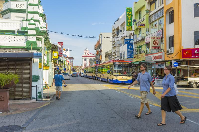 Street view of little India in Georgetown in Penang, Malaysia royalty free stock photo