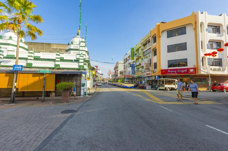 Street view of little India in Georgetown in Penang, Malaysia stock photos